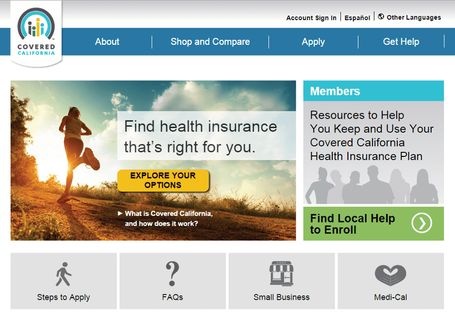 Screenshot of Covered California Marketplace